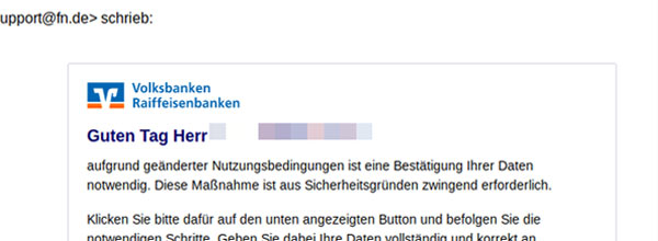 Phishing-Mail sicheres Online-Banking
